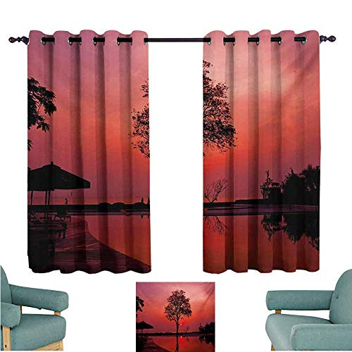 DONEECKL Room Darkening Wide Curtains Sunrise Silhouette of Misty Twilight Sky with Tree and Nature Reflections Exotic Image Thermal Insulated Tie Up Curtain W55 xL72 Black Ruby