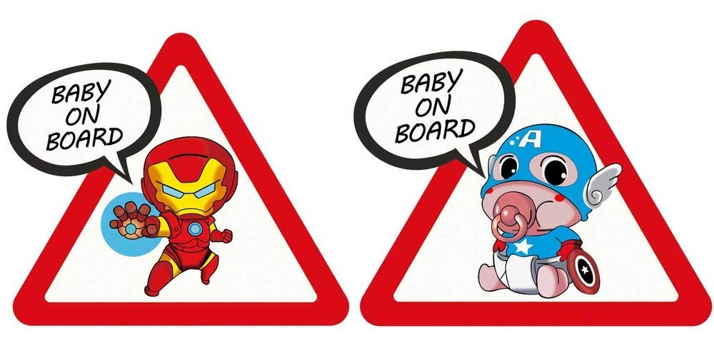 Autocollant Voiture Bébé à bord Captain America Ironman Baby on Board car Sticker Baby an Bord Aufkleber
