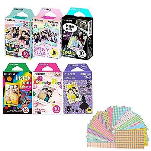Fujifilm Instax Mini Film 6 Pack Bundle! Rainbow, Candy Pop, Disney Alice, Stained Glass, Shiny Star, Comic 10 X 6 = 60 Sheets Assort Set Stickers]()