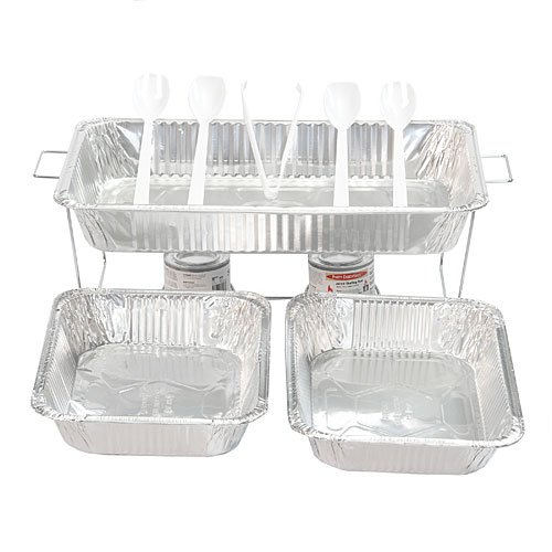 Party Essentials Buffet Party Banquet Serving Set with Chafing Rack, 11-Piece ()