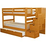 Bedz King Stairway Bunk Beds Twin over Twin with 3 Drawers in the Steps and a Twin Trundle, Honey