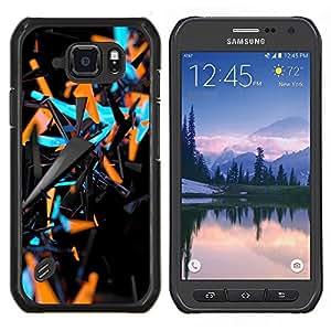 Dragon Case - FOR Samsung Galaxy S6 active/G870A/G890A (Not Fit S6) - blue orange abstract 3 d black pattern - Caja protectora de pl??stico duro de la cubierta Dise?¡Ào Slim Fit