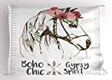 Ambesonne Animal Pillow Sham by, Boho Horse Head Sketch with Flowers Colorful Feathers Gypsy Spirit, Decorative Standard Size Printed Pillowcase, 26 X 20 Inches, Army Green Pale Pink Grey