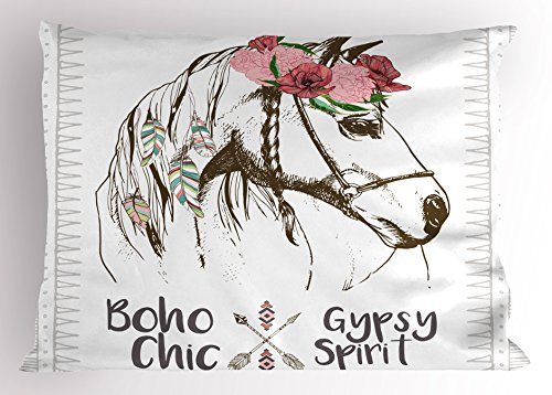 (Ambesonne Animal Pillow Sham by, Boho Horse Head Sketch with Flowers Colorful Feathers Gypsy Spirit, Decorative Standard Queen Size Printed Pillowcase, 30 X 20 Inches, Army Green Pale Pink)