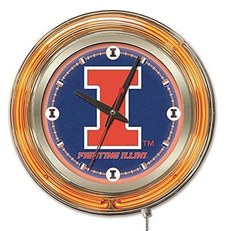 Holland Bar Stool Company NCAA Mens Double Neon Ring 15 Dia Logo Clock