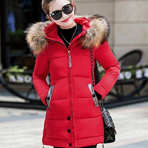 de las Invierno Larga Encapuchada Chaqueta Mujeres Talla de Logobeing Rojo Abrigo 01xgpa7qpw
