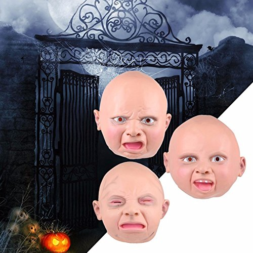 [Latex Disgusted Happy Cry Baby Costume Birthday Halloween Mask Full Head Party Masks Villain Joke Mask -All U] (Baby Head Mask)