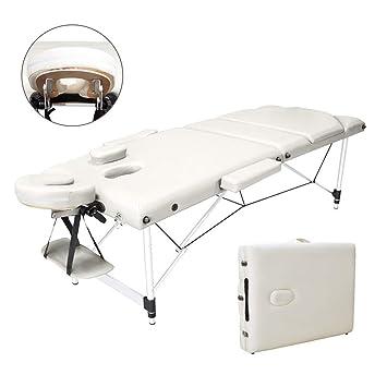 Vesgantti Massageliege 3 Zonen Tragbarer Massagetisch Aluminium Faltbare Therapieliege für Therapiebehandlung Salon Healing M