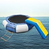 Popsport Inflatable Water Trampoline Series Splash Padded Water Bouncer Inflatable Bouncer Jump Water Trampoline Bounce Swim Platform for Water Sports (Blue+Slide, 10Ft)