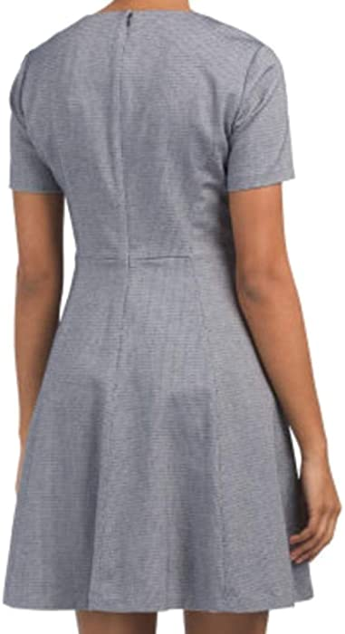 f3df005ded1 Amazon.com: Theory Albita WR Blue Multi Shortsleeve Fit Flare Dress ...