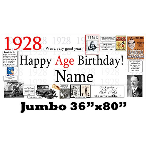 1928 91st Birthday Jumbo Party Banner (Each) by Partypro
