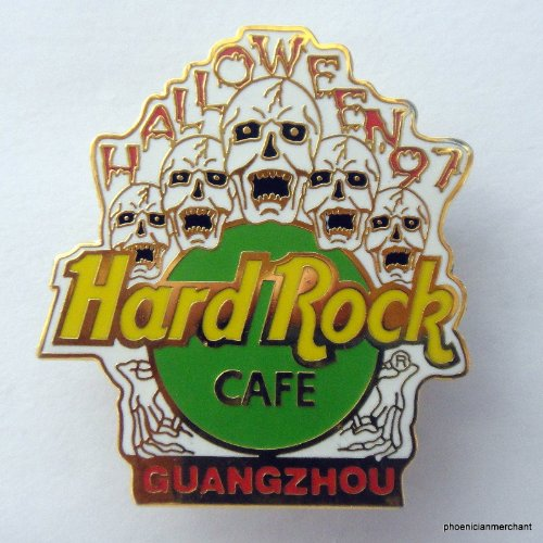 Hard Rock Cafe Guangzhou 1995 Halloween 5 Screaming Skulls Yellow/Green]()