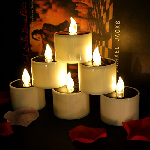 Micandle Set of 6 Warm LED Solar Flameless Tealights Candles for Home Yard Decor,Warm White Flickering Outdoor Solar Camping Lights Lamp (Charge 4-8 Hours Can Use 5-10 Hours)