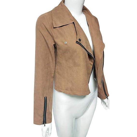 Amazon.com: DICPOLIA Womens Ladies Retro Rivet Zipper Up ...
