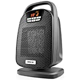 Ceramic Digital Space Heater, Indoor Oscillating Personal Heater, Over-Heat and Tilt Protection, Carrying