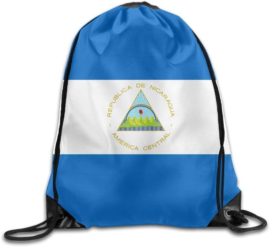 Etryrt Mochilas/Bolsas de Gimnasia,Bolsas de Cuerdas, Flag of Nicaragua Personalized Gym Drawstring Bags Travel Backpack Tote School Rucksack