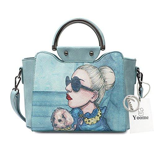 Bolsos con estilo de Yoome para el bolso superior de la manija de las mujeres Bolsos elegantes del nuevo cuero elegante del vegano - azul Azul