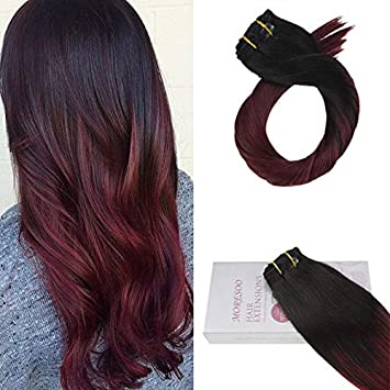 Moresoo 16 Inch Balayage Color Off Black 1b To Wine Red 100 Straight Remy Human Hair Clip In Hair Extensions Full Head 120 Grams Brazilian Hair