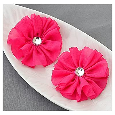 12 Fuchsia Hot Pink Chiffon Flower Soft Fabric Silk Rhinestone Ballerina Flower Bridal Wedding Garter Baby Hair Headband SF103