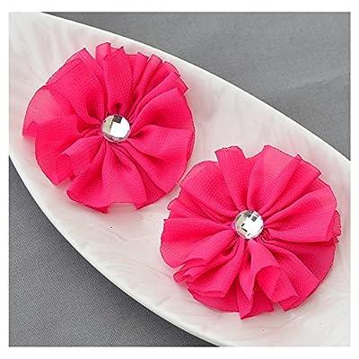 12 Fuchsia Hot Pink Chiffon Flower Soft Fabric Silk Rhinestone Ballerina Flower Bridal Wedding Garter Baby Hair Headband SF103