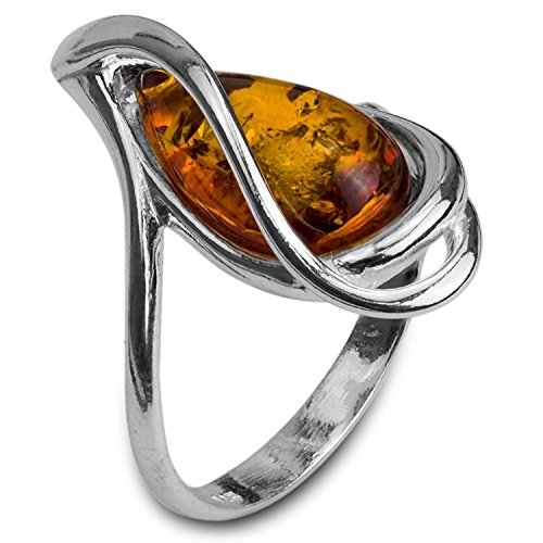 Amber Sterling Silver Drop Ring