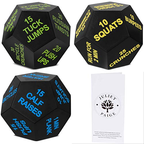 Juliet Paige Sports Dice for Exercise, Fitness, Workouts, Crossfit WOD, Cardio, and HIIT with LP Card (Bundle, 3 Dice)