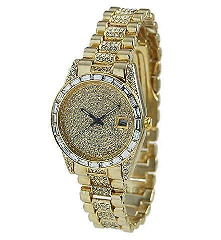 Gold Hip Hop Iced Out Men's Geneva Cz Cucic Zirconia Studded Watch (Geneva Watches Men Gold)