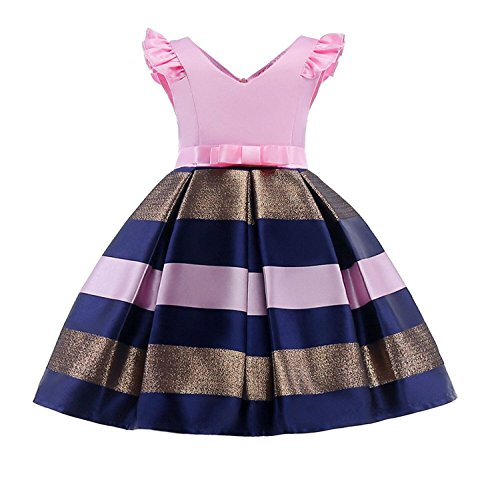 WZSYGDTC Girls Casual Striped Dresses Kids Birthday Halloween Day Pageant Dress Holiday Party Size 9T (Pink,150) -