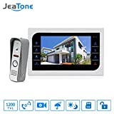 Jeatone 7 Inches Video Door Phone Video Doorbell Entry System kits with Rain Cover 1V1 TFT LCD Screen Unlock IR Night Vision Rainproof
