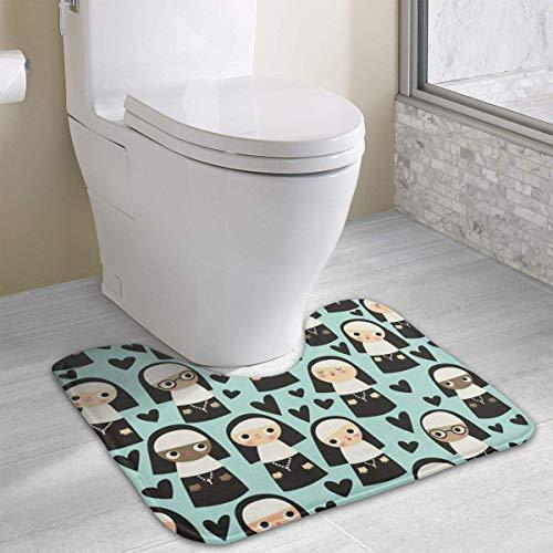 casually Nun Funny Bath Mat Toilet Carpet Doormats Floor Rug for Bathroom Toilet Nonslip Toilet Floor Mat 19.2″x15.7″