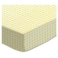 SheetWorld FLAT Crib / Toddler Sheet - Yellow Gingham Jersey - Made In USA