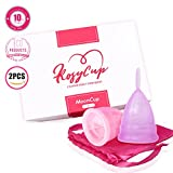 Rosy's Antibacterial Comfortable and Reusable Menstrual Cups (2 Sets with Aluminum Bag)- Effective Tampon and Pad Alternative, Eco-Friendly and Affordable – Size Small, Purple and Pink