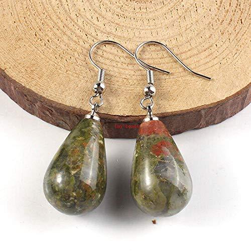 (FidgetKute Silver Plated Amethyst Rose Quartz Turquoise Stone Teardrop Hook Dangle Earrings Unakite)