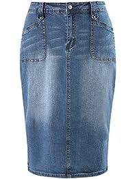 e723e4813e6 Women s Plus Size Knee Length Denim Pencil Skirts with Stretch