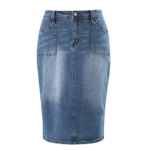 Stretch Denim Pencil Skirt - MSSHE Women's Plus Size Knee Length Denim Pencil Skirts with Stretch
