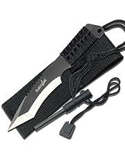 Survivor HK-759 Faca de lâmina fixa, lâmina tanto de dois tons, cabo preto, 18 cm em geral
