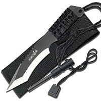Survivor hk-759–Cuchillo de hoja fija, tanto en dos tonos Hoja, asa cord-wrapped Color Negro, 17,8cm General