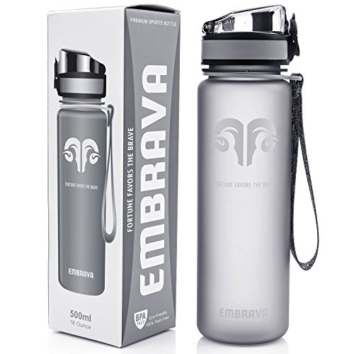 - Best Sports Water Bottle - 17oz Small - Eco Friendly & BPA-Free Plastic - Fast Water Flow, Flip Top Lid, Opens With 1-Click (Gray)