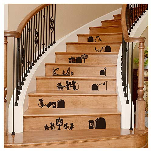 Staircase Decal Stair Mural Decals DIY Tile Decal Waterproof Home Decoration Family Stair Decal Wall Decoration Sticker Creative Building Stairs Sticker Decal (Cartoon Mouse)