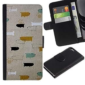 Híbridos estuche rígido plástico de protección con soporte para el Apple iPhone 5 / 5S - dogs dachshund teal gold pattern
