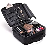 "Ramaka Solutions Make Up Storage Organizer   Makeup Bag   Cosmetic Travel Bag   Makeup Storage Case   Makeup Travel Organizer Train Case with Adjustable Dividers (10""L x 3.5""W x 9""H) Black"