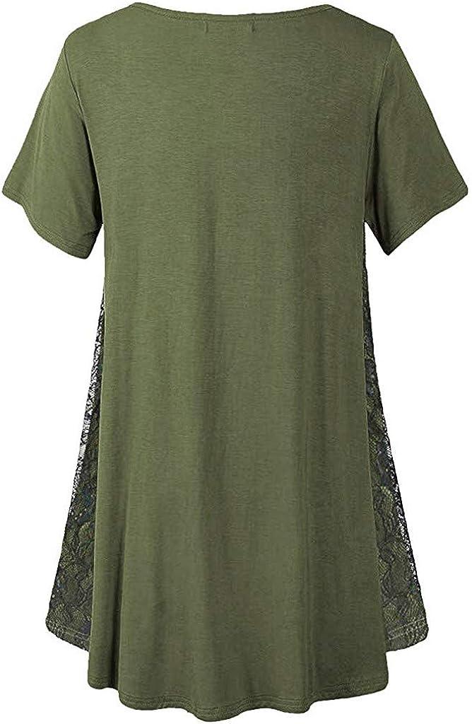 Moudozsdi Womens Lace Patchwork Tunic Top O Neck Short Sleeve T Shirt Blouse