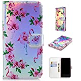 Ostop Leather Wallet Case for iPhone Xs Max,Credit Card Slots Holster with Flamingo Floral Pattern Stand Holder PU Dual Layer Protective Shell Magnetic Colorful Flip Cover