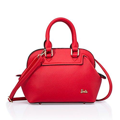Barbie BBFB162 Bolso de Mano Bolso Bandolera de Moda de Estilo Sencillo de Color Puro Rojo