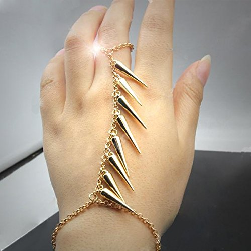 Fabulous Punk Style Jewelry Set Kit Including Gold Colored Chain Bracelet / Bangle With 8 Rivets / Spikes / Pyramids Tassels Connected With Finger Ring By VAGA®