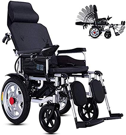 Silla de ruedas eléctrica con respaldo reclinable, plegable
