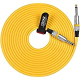 """QOOKR 20ft Male to Male Straight 1/4"""" TS Color Instrument Cable for Electric Guitar,Bass,Keyboard(20 Feet,Yellow)"""