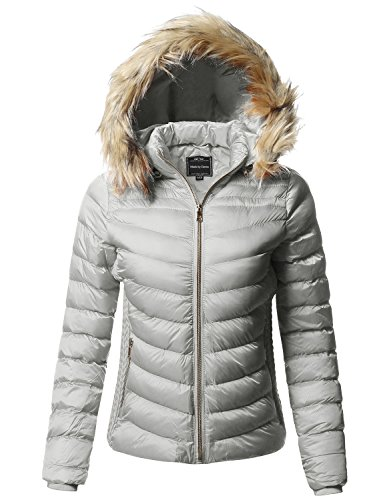 Quilted Puffer (Made by Emma Quilted Puffer Jacket with Detachable Faux Fur Hood Gray L)