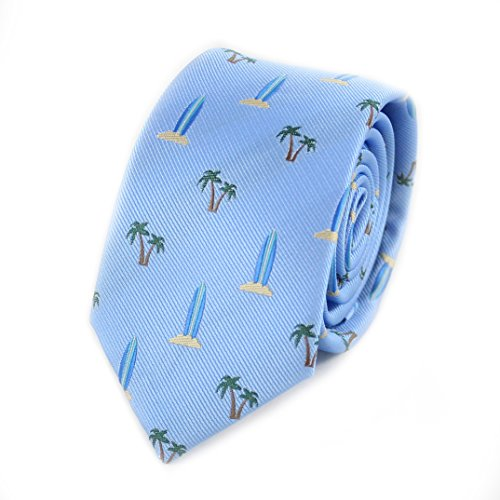 MENDEPOT Coconut Tree And Surfboard Necktie Microfibre Woven Nautical Theme tie