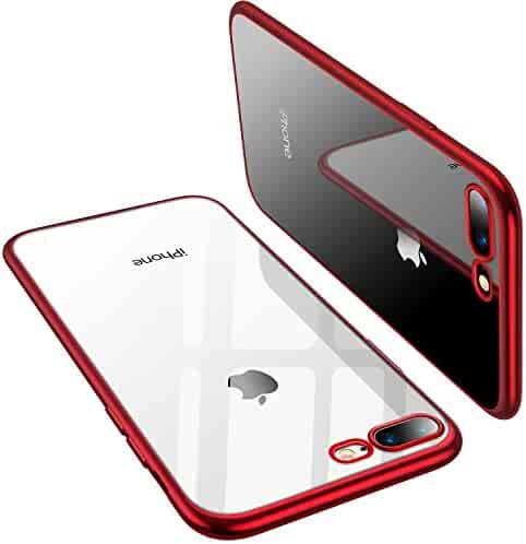 TORRAS iPhone 8 Plus Case, iPhone 7 Plus Case, Crystal Clear Soft Cover Case with Electroplated Frame Ultra Slim TPU Gel Case for Apple iPhone 7 Plus/8 Plus, Clear Back&Red Frame